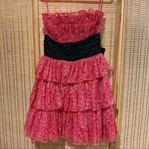 Betsey Johnson pink strapless party dress size 6